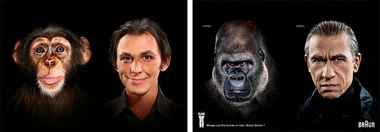 реклама бритвы с обезьянами