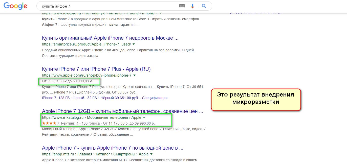 Сниппет сформированный из данных микроразметки google