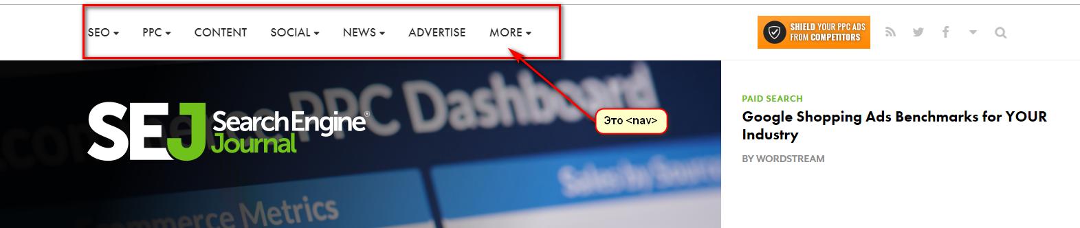 Разметка html5 nav в header