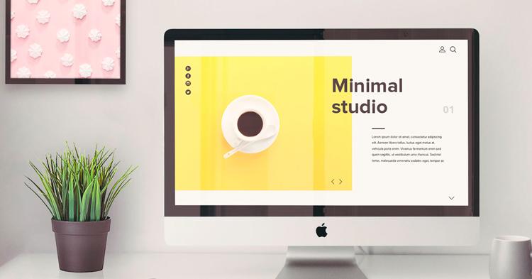 минималистичный сайт на экране