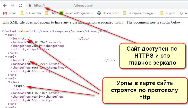 Ошибка в карте сайта, когда сайт доступен по HTTPS, а урлы в карте сайта строятся по HTTP
