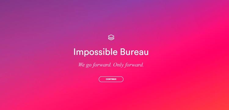 Impossible Bureau как пример сайта с градиентом (главная)