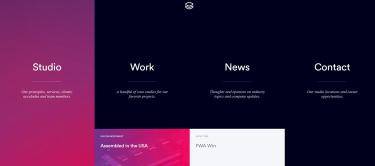 Impossible Bureau как пример сайта с градиентом (меню)