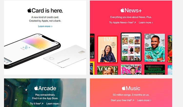 пример того как Apple делает сайт более ярким и живым