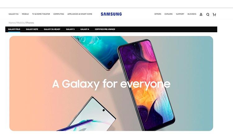 """пример того как Samsung """"оживляет"""" свой сайт внося яркие элементы"""