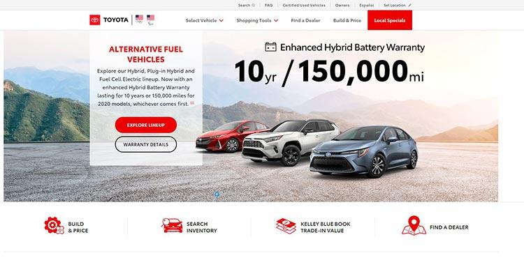 Toyota сочетает негативное пространство и минималистичные яркие иконки на сайте