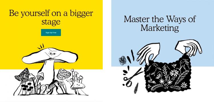 Макеты иллюстраций с текстом