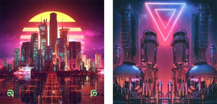 Неоновый киберпанковый город